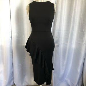 Boohoo Crossback Peplum Midi Dress